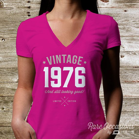 39th Birthday, 1976 Birthday, Women's V-Neck, 39th Birthday Idea, 39th Birthday Present, or Birthday Gift, For The Lucky 39 Year Old!