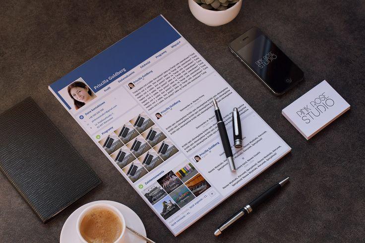 Produkt Priscilla zawiera:      Szablon CV inspirowany portalem Facebook w formacie .DOCX,     1 plik edytowalny + 1 plik wzorcowy w formacie PDF,     25 wymiennych ikon zainteresowań,     Darmowe czcionki lub/i listę z linkami, gdzie użyte czcionki są dostępne do pobrania.   Elementy szablonu CV Priscilla:      Dane kontaktowe,     Profil zawodowy,     Doświadczenie zawodowe,     Edukacja,     Programy,     Języki obce,     Zainteresowania,     Miejsce na zdjęcie,     Klauzula o ochronie…