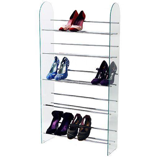 Tesco direct: Luxor - 5 Tier 15 Pair Shoe Storage Shelf Rack - Glass / Chrome