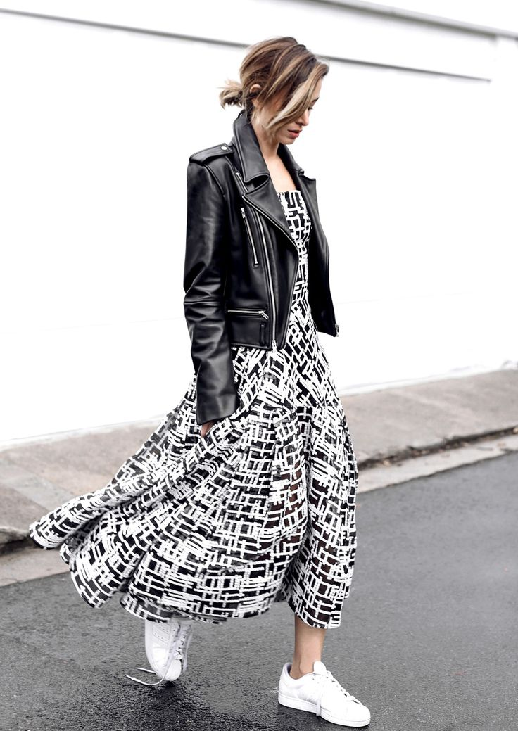 printed skirt with leather jacket