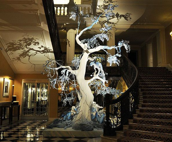 Claridge's Christmas Tree in London by John Galliano The Christian Dior creative director John Galliano was asked by luxury London hotel Claridge's to design a festive tree, the first time in its 112-year history that it has collaborated on its Christmas decorations