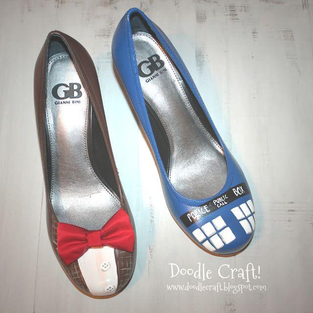 Doodlecraft: Doctor Who Painted TARDIS Heels!