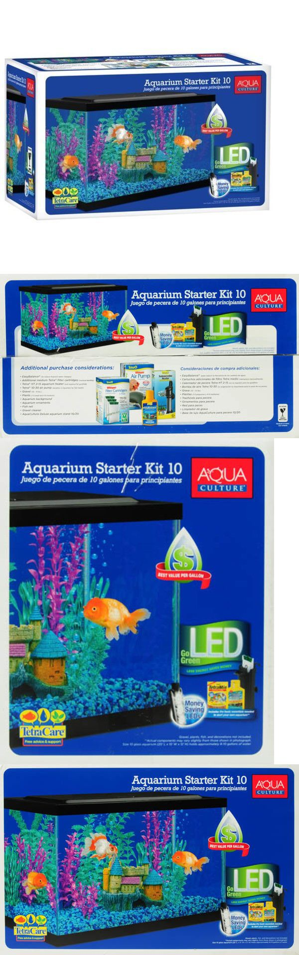 Aquarium fish tank starter kit - Aquariums And Tanks 20755 Aquarium Kit 10 Gallon Fish Tank Aquarium Fish Tank Led Light