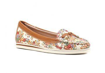 Sapato Mocassim Feminino Bottero Floral Caramelo