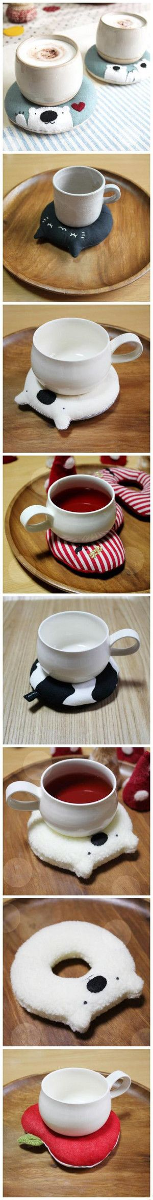 Coffee mug cozy! Post is in different language but it looks pretty simple; I would just fill with rice and microwave just before use. :)
