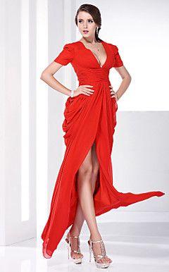 Chiffon Sheath/Column V-neck Floor-length Evening Dress insp... – USD $ 176.39