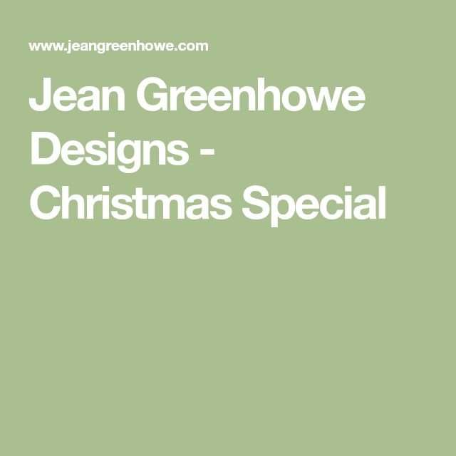 Jean Greenhowe Designs - Christmas Special
