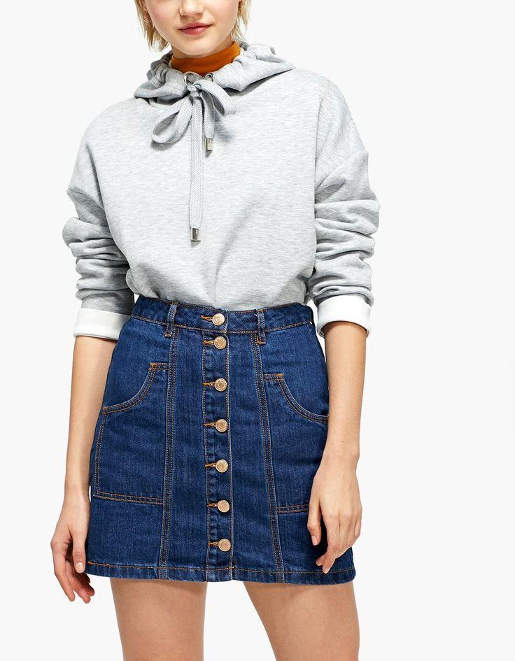 A-line button-up denim skirt - Skirts | Stradivarius United Kingdom - Winter Sale
