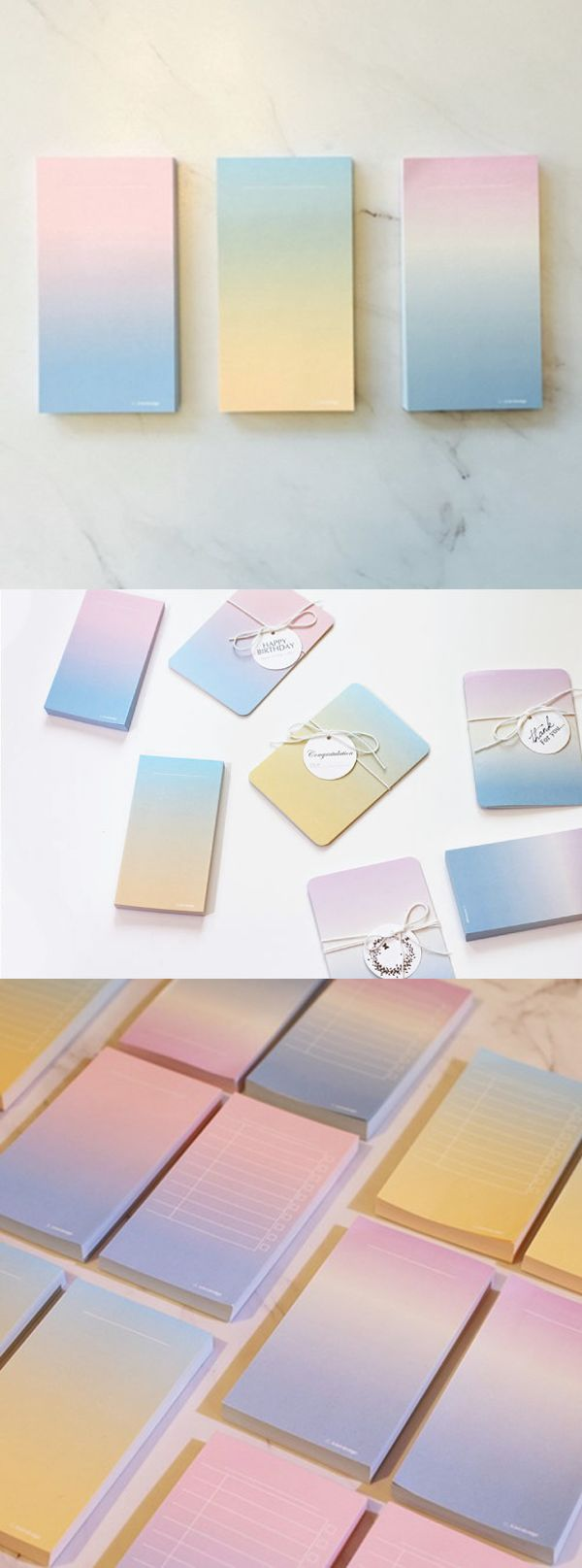 The Gradient Notepad is a beautiful and practical notepad to write your memos! Use it to write notes anywhere, and the let the notepad brighten up any place when it is placed on any surface.