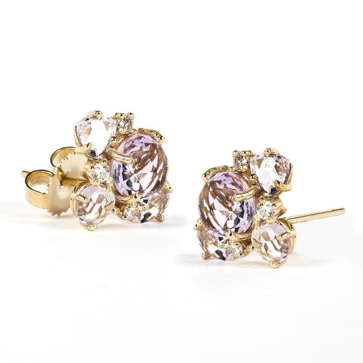 Suzanne Kalan diamond post earrings - Pink & Purple zcpXyw