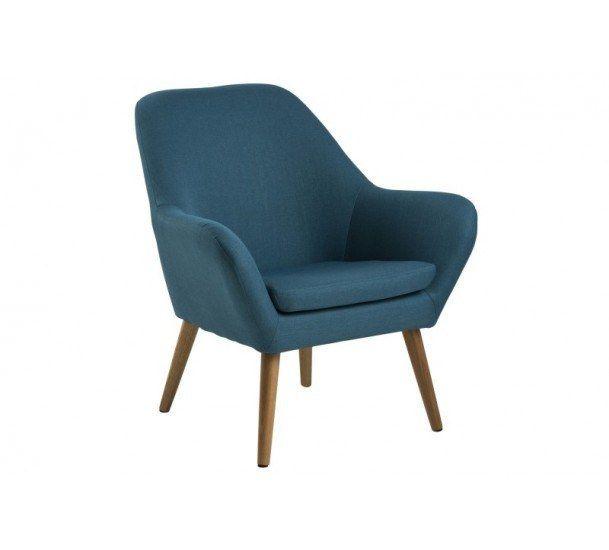 Boyd Loungestol - Petroliumsblå - Corsica stof petrol 45, ben træ eg, oliebehandlet