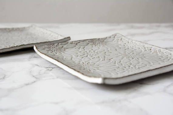 Decorativos de cerámica blanca placas / Set de platos de lado