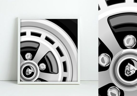 Jaguar Classic Alloy Wheel Graphic Art by jpappleton on Etsy
