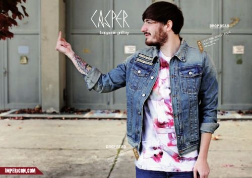 German rapper Casper modelling our Rebel Without a Clue denim jacket and This Is A War T-Shirt. www.iheartdropdead.com