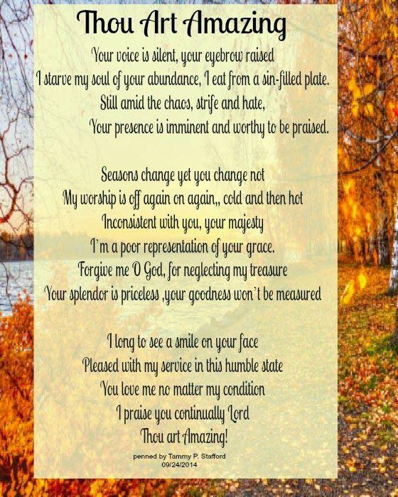 Thou Art Amazing...a poem for your Thursday. Be Amazed and encouraged!