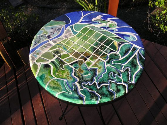 Handmade ceramic tile bistro table / breakfast table ...