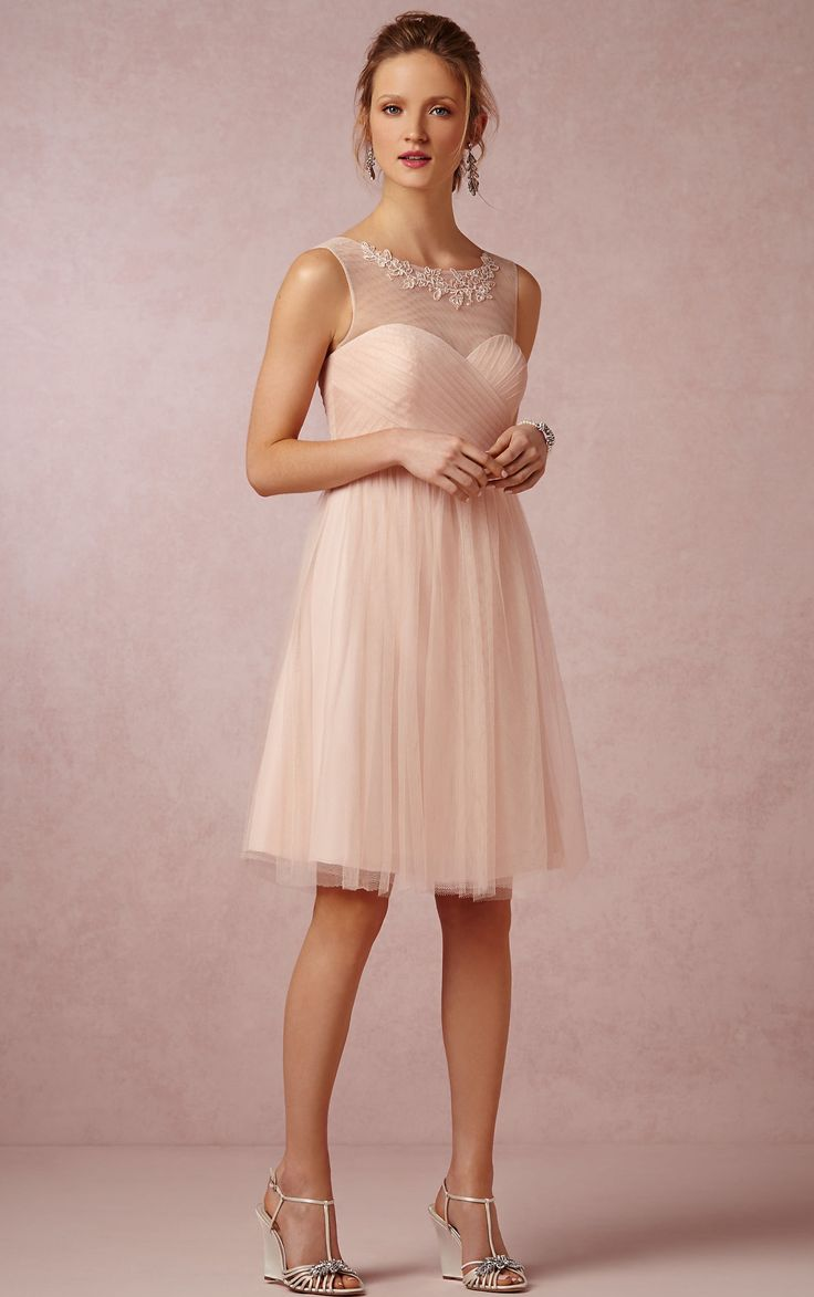 Baby pink illusion neckline short bridesmaid dress  www.sherrylondon.co.uk