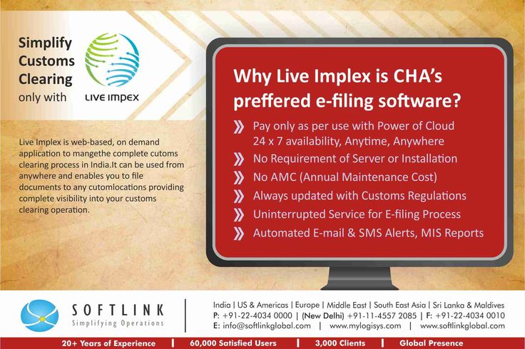 Live Impex is a web-based, on demand application to manage the complete customs clearing process in India. It can be used from anywhere and enables you to file documents to any custom location providing complete visibility into your customs clearing operations. More Detail http://bit.ly/1HSdjvH