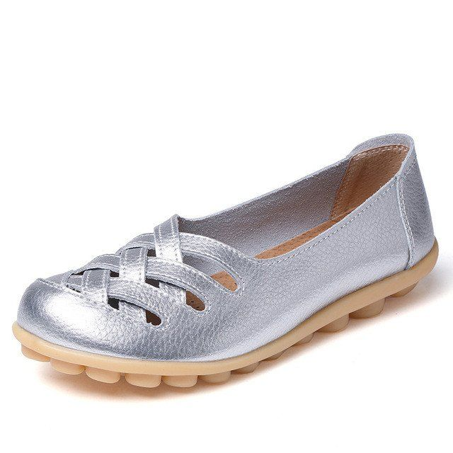 Shiny Silver Casual Comfy Smooth Shoes with Lattice Hatched Upper - Co – Nodule Shoe