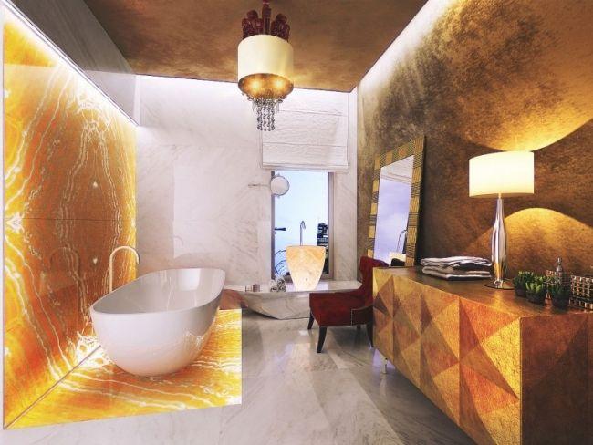 luxus badezimmer ideen marmor fliesen goldener glanz beleuchtung kommode