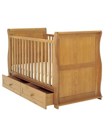 East Coast Nursery Langham Sleigh Cot Bed with Drawers - Oak - cot beds - Mothercare