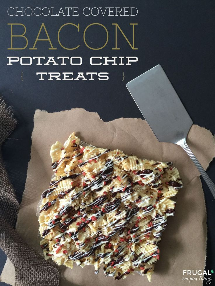 Chocolate Covered Bacon Potato Chips on Frugal Coupon Living #chocolaterecipes #BaconRecipes #chips