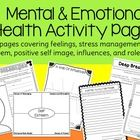 Mental and Emotional Health Activity Pages for Elementary Students
