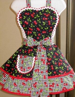 =)Black Cherries, Aprons What, Cheery Fabrics, Everything'S Cherries, Everything Cherries, Fabrics Aprons, Cherries Cherries, Cherries Aprons, Sewing Aprons