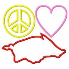 Peace Love Razorback hog Applique Design