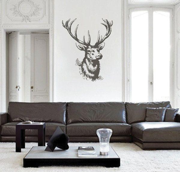 kik2448 Wall Decal Sticker deer head trophy hall bedroom