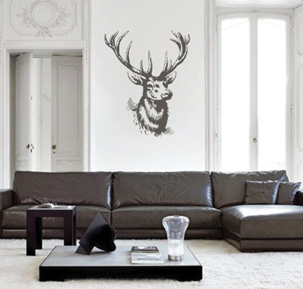 kik2448 Wall Decal Sticker deer head trophy hall bedroom