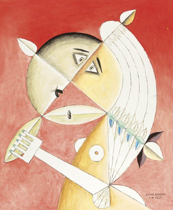 "Brauner Victor (1903 - 1966)  - Roumanie  - Le baiser (1955)  - Toile  - Sig. ""Victor[...]"