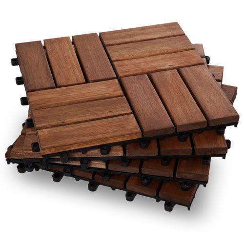 Twelve Slat Contemporary Wood Deck Tiles - Box of 10