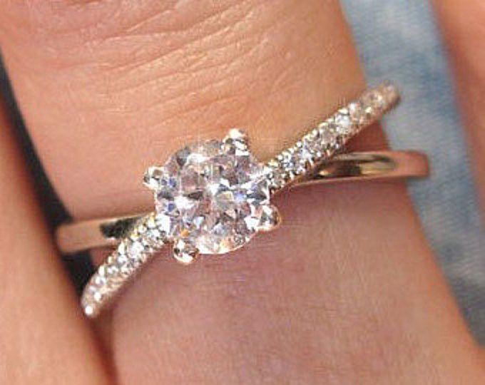 Moissanite Infinity Engagement Ring, Diamond Infinity Engagement Ring, 14k Gold Diamond Braided Engagement Ring, Diamond Infinity Ring