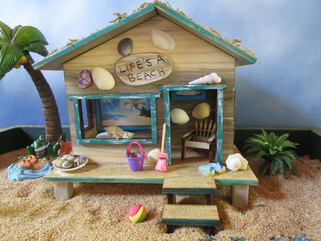 Fairy Garden Miniature Beach Hut Cottage Cabana house door life's a beach by PixiesPatch on Etsy https://www.etsy.com/listing/520730134/fairy-garden-miniature-beach-hut-cottage