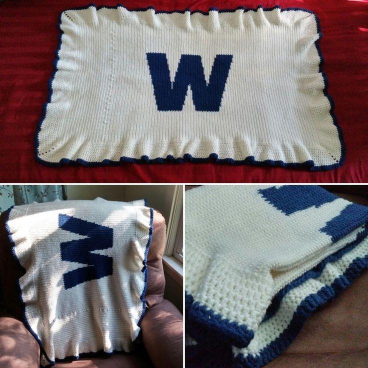 "[FO] Cubs ""Win Flag"" lap blanket : crochet"