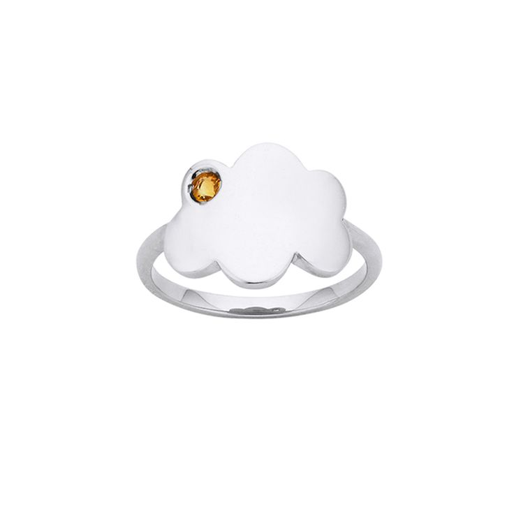Storm Cloud ring - $69. Thin and delicate ring crafted in 925 sterling silver, with small cloud feature detail with a tiny citrine setting. KW and 925 stamped on the inside of ring. Lovingly created by New Zealand clothing and accessories designer label Karen Walker. www.savethelastpinker.com.au/shop/storm-cloud-ring/