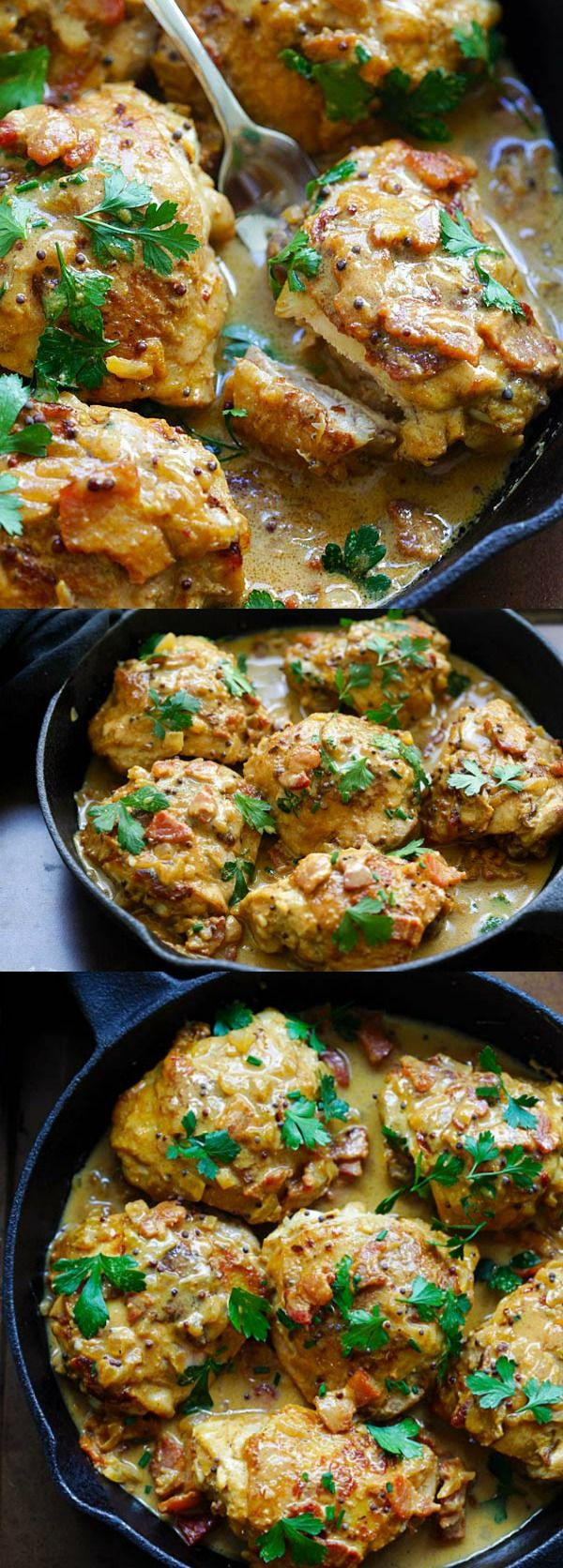 Mustard Chicken – the best mustard chicken recipe by . Rich and crazy delicious mustard sauce with bacon and chicken thighs | rasamalaysia.com #Chicken #Mustard #Bacon