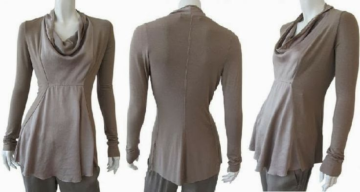 Camel long sleeve t-shirt, silk panel in front, shawl collar, well-marked waist on sale. #Women  #Clothing
