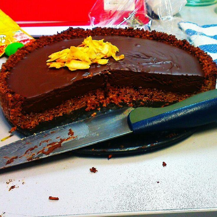 Decadent Sugar-free Chocolate Coconut Tart. Amazing!