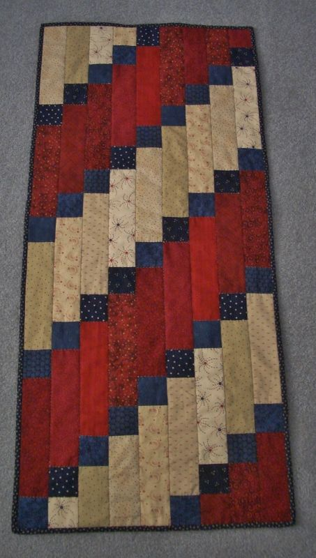 """Patriotic Table Runner. Pattern from """"American Patchwork Quilting, August, 2013. Think about using seasonal fabrics."""