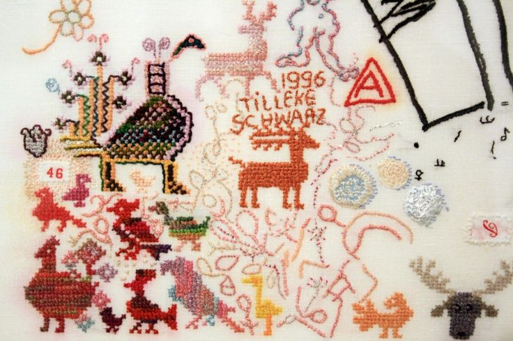 "TILLEKE SCHWARZ MOOSE IN THE SUNSET, DETAIL 1996. Hand embroidery on 50-count linen.  29.5"" x 27.6"""