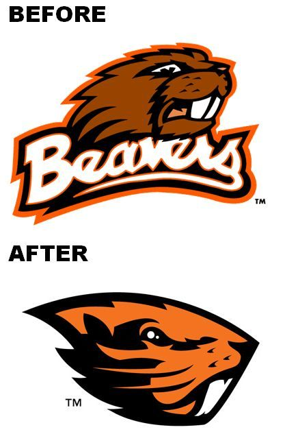 Oregon State University logo before and after