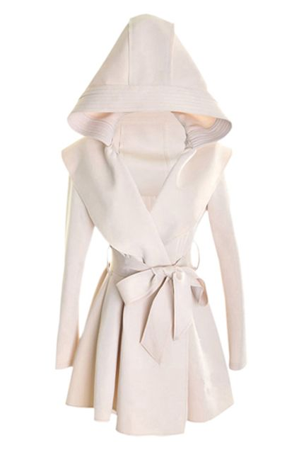 Slim Hooded Cream-colored Trench Coat