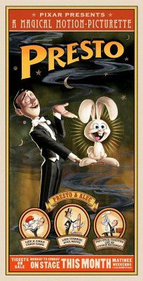 Presto (2008) - A stage magician's rabbit gets into a magical onstage brawl against his neglectful guardian with two magic hats. Director: Doug Sweetland Writers: Doug Sweetland, Ted Mathot (story)  Star: Doug Sweetland