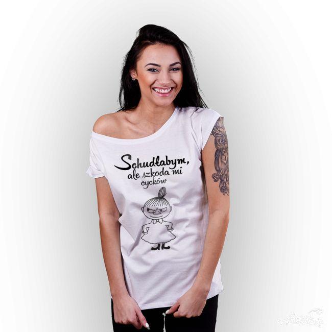 T-shirt damski z nadrukiem Mała Mi- Schudłabym, ale szkoda mi cycków. biały