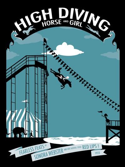 Fearless Feats! High Diving Horse and Girl! Art Print