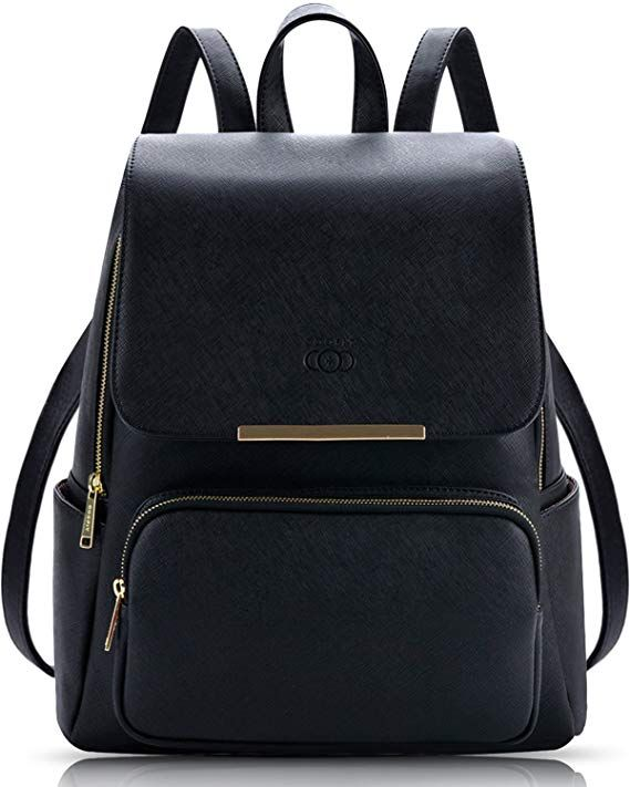a85a033c442d COOFIT Black Faux Leather Backpack for Girls Schoolbag Casual Daypack