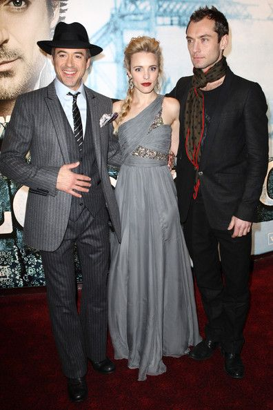 "Robert Downey Jr., Rachel McAdams and Jude Law at the world premiere of ""Sherlock Holmes,"" London, Dec. 2009."