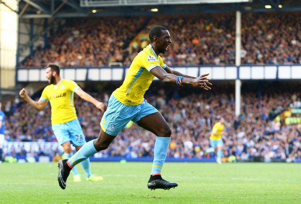 Yannick Bolasie Yannick Bolasie of Crystal Palace celebrates after scoring his team's third goal during the Barclays Premier League match between Everton and Crystal Palace at Goodison Park on September 21, 2014 in Liverpool, England.